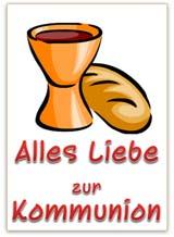 Kommunionskarte mit Kelch Wein und Brot