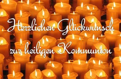 Kommunionskarte mit Kerzen